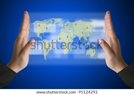 Business Hand with World Social Media Concept on Technology Virtual Screen