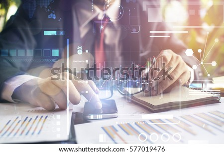 business hand working with new modern computer and business strategy as concept