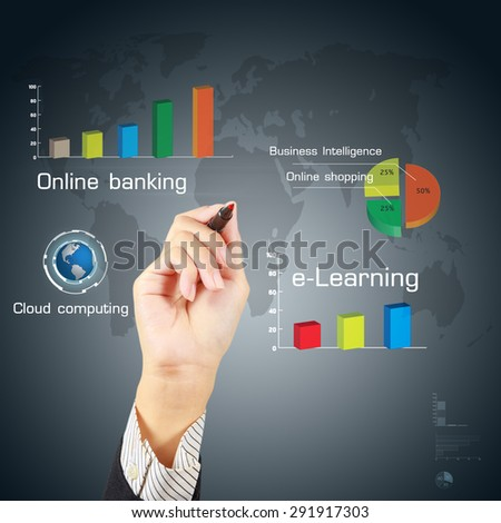 Business hand writing a business concept and technology.