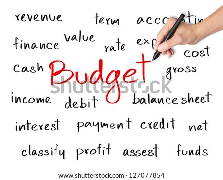 business hand writing accounting concept of budget