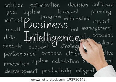 business hand writing business intelligence concept on chalkboard