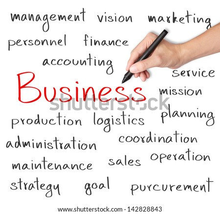 business hand writing business organization concept
