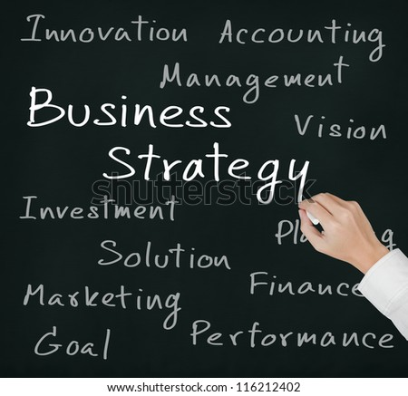 business hand writing business strategy concept