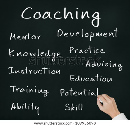 business hand writing coaching concept on chalkboard