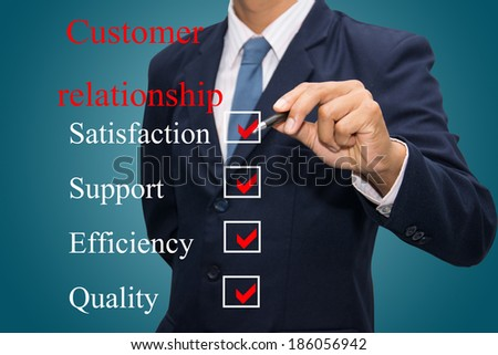 business hand writing customer relationship concept  - stock photo