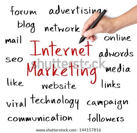 business hand writing internet marketing concept