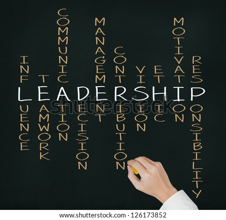 business hand writing leadership skill concept by crossword