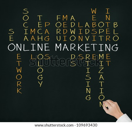 business hand writing online marketing  concept by crossword of relate word such as internet, technology, advertising, seo, website, media, etc.