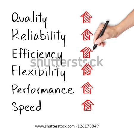 business hand writing rising reliability, quality, efficiency, flexibility, performance and speed