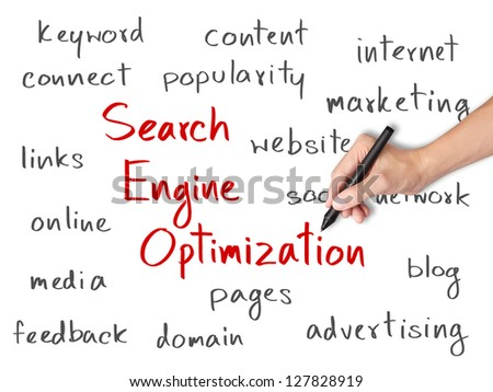 business hand writing search engine optimization  ( SEO ) concept