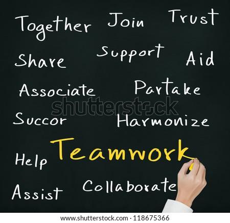 business hand writing teamwork concept