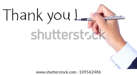 Business hand, writing thank you