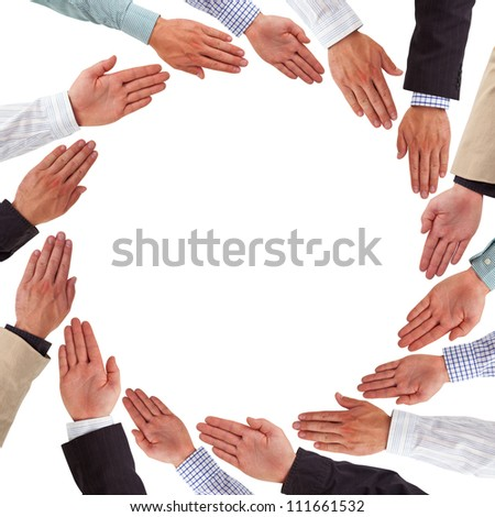 Business hands forming circle isolated on white