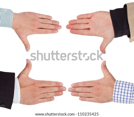 Business hands forming frame