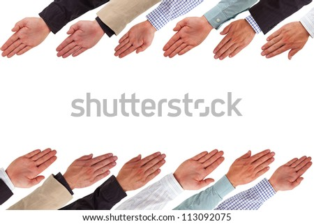 Business hands forming rows isolated on white
