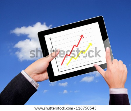 Business hands  graph on a tablet