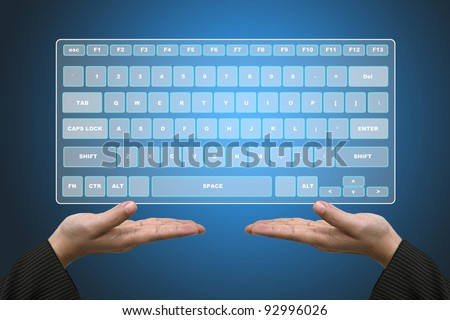 Business Hands Hold Technology Virtual Keyboard Interface