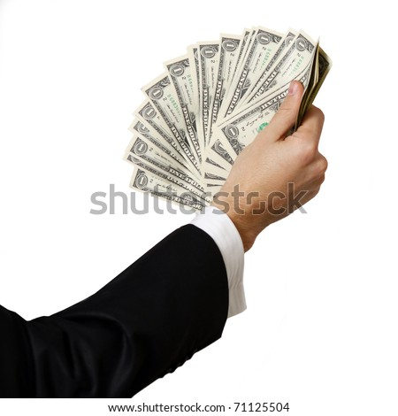 Business hands holding a stack of dollar bills