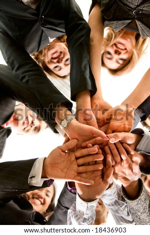 business hands of teamwork in an office in a meeting room