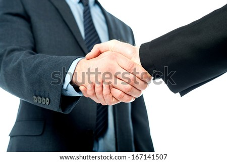 Business handshake after striking deal