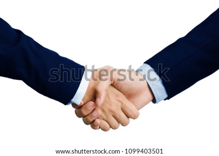 Business handshake Agreed to enter into a global online trading contract in the digital age. Isolated  on white background and clipping path #1099403501