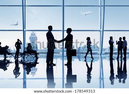 Business Handshake at Airport stock photo