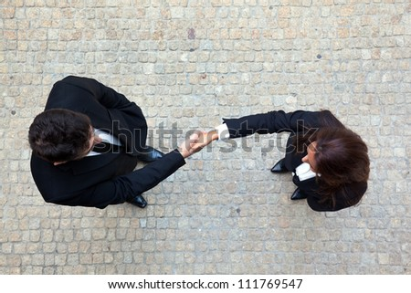 Business handshake between businessman and businesswoman