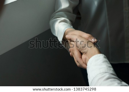 Business handshake. Business people shaking hands, finishing up a meeting,Success agreement negotiation. #1383745298