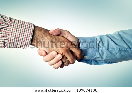 Business handshake, common greeting ritual for business agreement