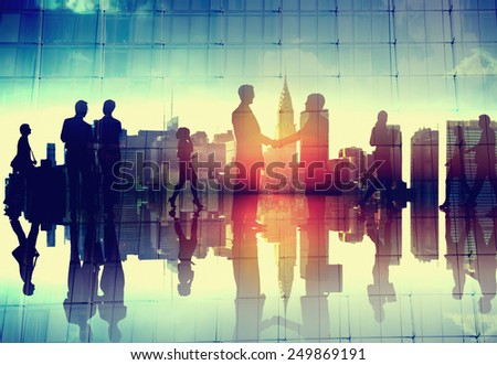 Business Handshake Corporate Partnership Agreement Cityscape Concept