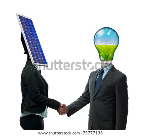 Business handshake from new energy people