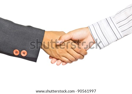 Business handshake isolated on white background, greeting or agreement concept