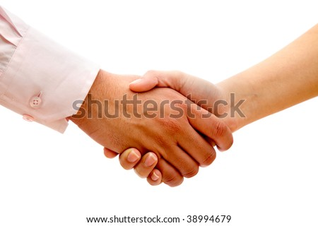 Business handshake isolated over a white background