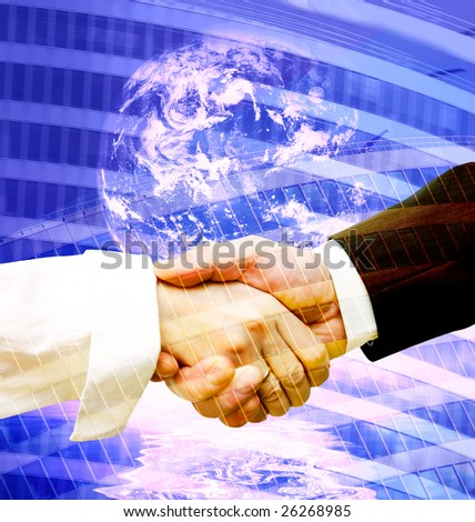 Business handshake on modern background