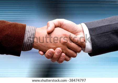 business handshake on technology background