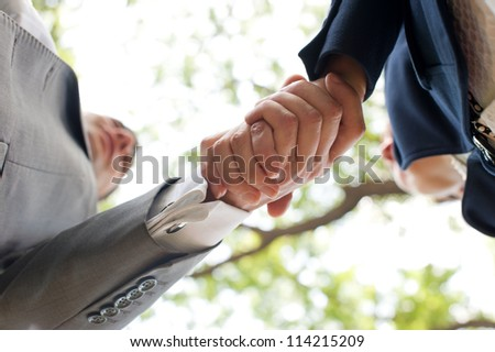 Business handshake on the nature