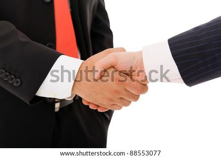 business handshake on white background