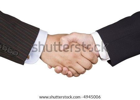 Business handshake on white background with clipping path.