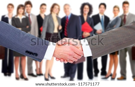 Business handshake. Professional group meeting.