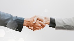 Business handshake technology corporate business concept