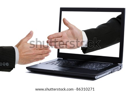 Business handshake through a laptop screen