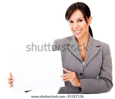 Business holding  a banner - isolated over a white background