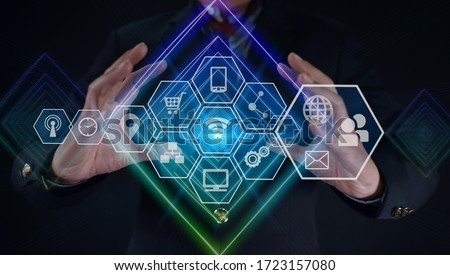 Business holding Abstract line with network wireless systems and innovative technology connection concept. ストックフォト ©