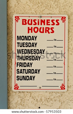 Business Hours on Office Store Front