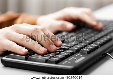 Business human hand working pc computer keyboard