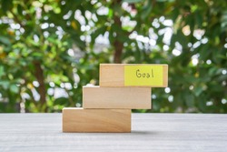 business icon of steps to achieve goals for best performance to get annual bonus