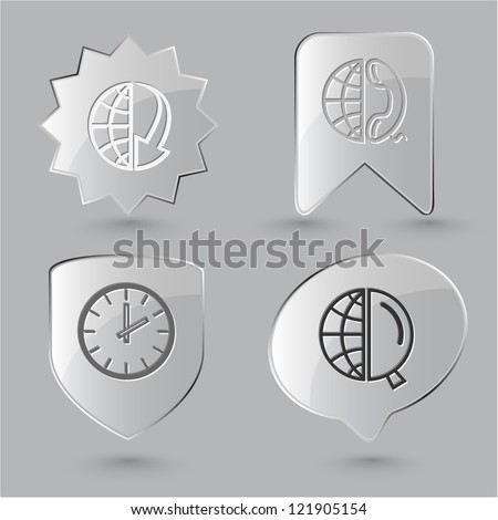 Business icon set. Globe and array down, and magnifying glass, and phone, clock. Glass buttons. Raster illustration.