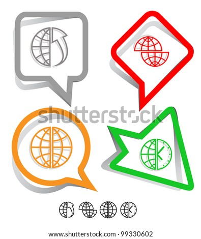 Business icon set. Globe, globe and array up, shift globe, globe and clock. Paper stickers. Raster illustration.