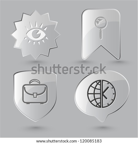 Business icon set. Magnifying glass, globe and clock, briefcase, eye. Glass buttons. Raster illustration.