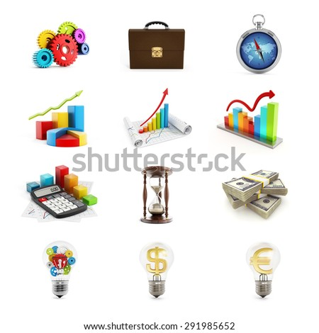 Business icons set consisting of twelve 3D render